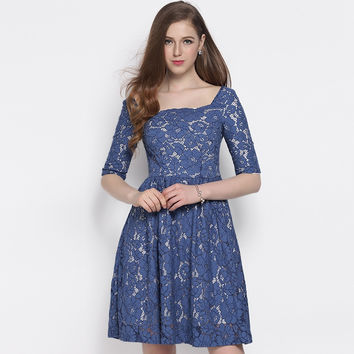 Sweet Sheer Blue Floral Lace Backless Dress