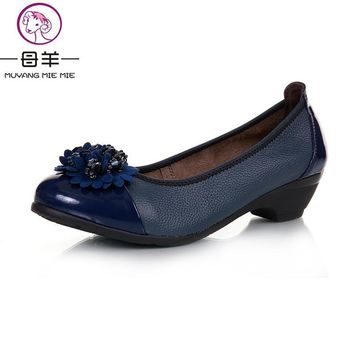 MUYANG MIE MIE 2017 Women Pumps Women Genuine Leather Wedge Single Shoes Woman Casual