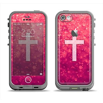 The Vector White Cross v2 over Unfocused Pink Glimmer Apple iPhone 5c LifeProof Fre Case Skin Set
