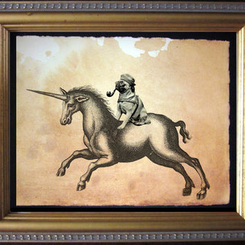 Pug Riding Unicorn  Vintage Collage Art Print by TeaStainedMadness