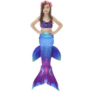 3 Pcs/set Baby Girls Children Swimming Cosplay Mermaid Tail Costume Swimsuit Swimmable Mermaid Tail Bikini Set Girl No Monofin