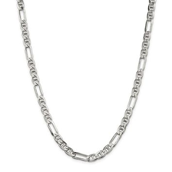 925 Sterling Silver 6.5mm Figaro Anchor Chain Necklace, Bracelet or Anklet