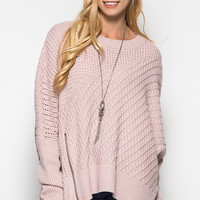 OSFA Oversized Cable Knit Sweater Poncho - Misty Pink
