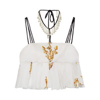 Ivory Anchor Print Silk Embellished Top by Natasha Zinko - Moda Operandi