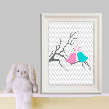 Pink Aqua Nursery Bird Art Decor S Bedroom Wall