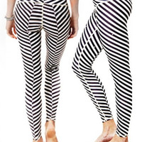3D Pinstripe (black) Yoga Leggings