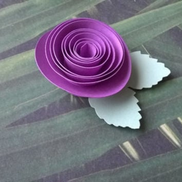 purple rose boutonniere groomsman pin back groom single paper flower lapel brooch bridal party bridal shower wedding reception family favors