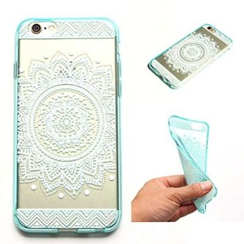 iPhone 6 Case, LUOLNH Henna Full Mandala Floral Dream Catcher TPU Silicone Gel Soft Clear Case Silicone Skin Cover for Apple Iphone 6 4.7 inch Screen -Green