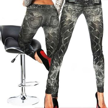 DCCKH6B Fashion Jeggings Jeans Look Printed Leggings Women's Pants Stretchy Skinny