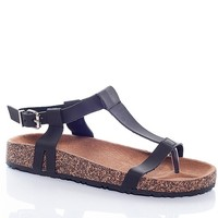 Natures Breeze Earth Works T-Strap Faux Cork Heel Thong Sandals - Black