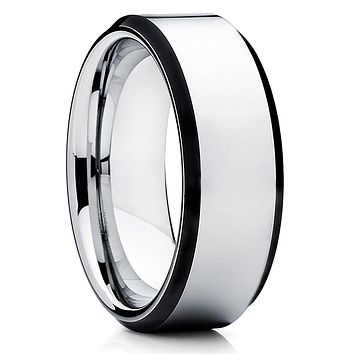 8mm - Silver Tungsten Ring - Black Tungsten - Tungsten Wedding Band