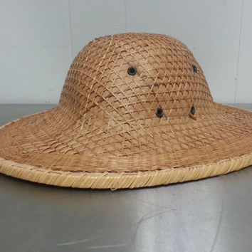 VINTAGE Handmade Straw Pith Safari Hat Vented Original Antique Sun Hat