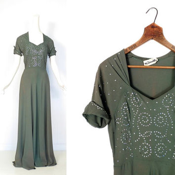 Vintage 1940s Gown / 40s Crepe Dress / 1940s Dress Old Hollywood / XS