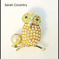 Sarah Coventy Owl Brooch 1959 night owl with pearls rhinestone