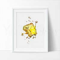 Spongebob Squarepants Watercolor Art Print
