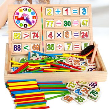 Wooden Math Toys Baby Educational Clock Cognition Math Toy with Blackboard Chalks Children Wooden Educational Toys for Children