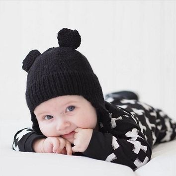 1Pcs Baby Hat Cute Ears Caps children Warm Winter Crochet Hat Baby Kids Toddler Wool Hairball Knitting Beanie Hat BB0164