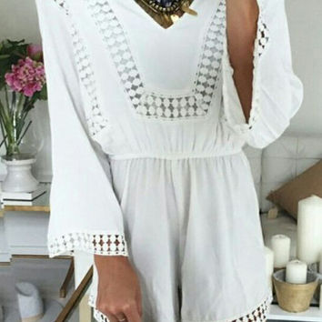 White V-Neck Lace Romper