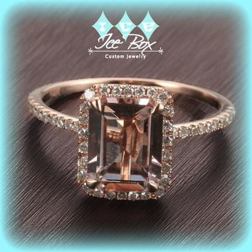 Morganite Engagement Ring 2.1ct Emerald Cut in a 14k Rose Gold Diamond Single Halo setting