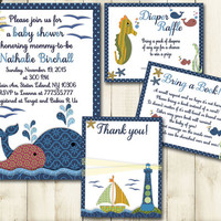 Nautical baby shower printable invitation set boy sea life whale boat digital invite with inserts thank you bring a book Diaper card blue