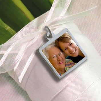 "Custom Wedding Bouquet Photo Charm - Sterling Silver, Waterproof - Square -Small Size (1/2"")"