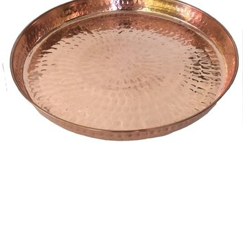 Copper Hammered Round Serving Tray 12