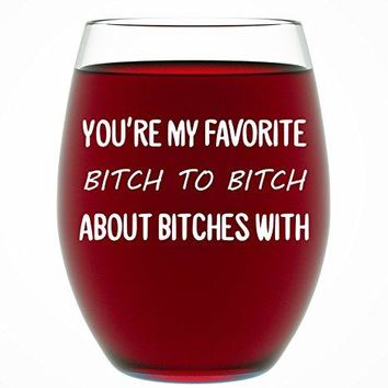 Best Friend Gifts For Women Funny BFF Birthday Gift Idea Gifts For Best Friend Gift For Women 15 oz Stemless Wine Glass Gift for Wine Lovers Funny Friendship Gift by Funny Bone Products