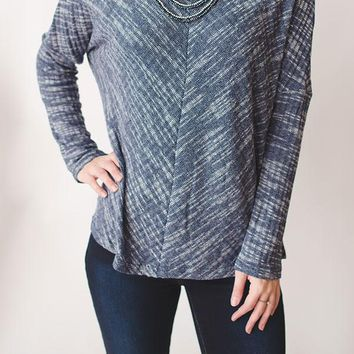 Heathered Knit Top - Blue