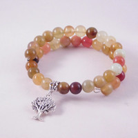 Tree of Life Bracelet - Memory Wire Wrap Bracelet - Natural Jasper Beads - Earth Colors