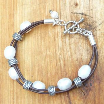 Leather Pearl Bracelets