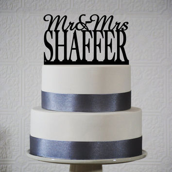Last Name Wedding cake topper - Customize with YOUR LAST NAME