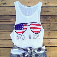 Women Tanks USA American Flag Glasses Striped Printed Tops O-Neck Sleeveless Cropped Top Summer 2017 Sexy Girl Soft Casual Loose