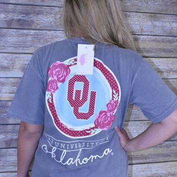 OU Calamity Jane floral comfort colors t shirt