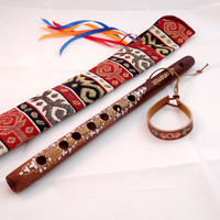 Musical Instrument Flute, Armenian Wooden Flute with Ornaments, Dark Brown, Golden Paint, Case with Ornaments, Free Gift - Leather Bracelet