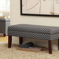 Gray/Glacier Blue Chevron Decorative Storage Bench