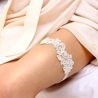 FLORA COLLECTION I  pale ivory beaded floral applique by woomi