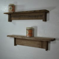 "Funky reclaimed wood wall shelves 24"" wide and 23"" wide"