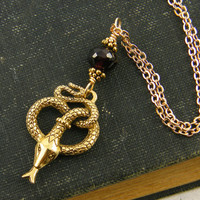 Snake Pendant Necklace in Antique Gold with Garnet Semiprecious Gemstone Bead