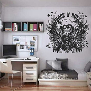 kik819 Wall Decal Sticker Room Decor Wall Art Mural skull Guitry bass speaker microphone music hard rock heavy metal bedroom living