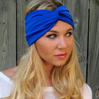 Lycra Twist Headband Wide Turban Head Wrap Blue Headband All Around Stretch Wide Double Layer Women's Hair Accessory or Choose Your Color