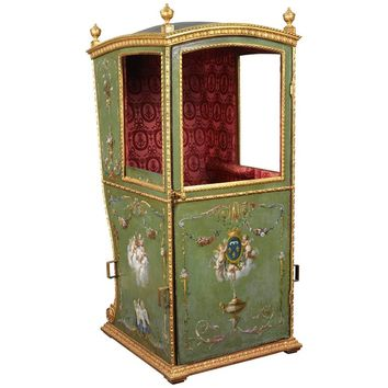 Green 18th Century Louis XVI Sedan Chair with original red interior fabric