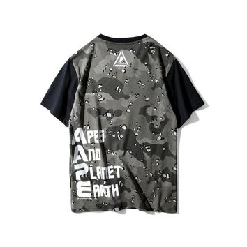 kuyou AAPE 'Apes And Planet Earth Logo' Spume Splice T-Shirt