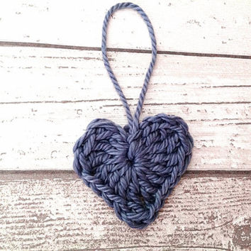 Deep purple crocheted heart ornament garland