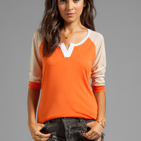 TOWNSEN Colorblock 3/4 Sleeve Baseball Top in Burnt Orange/Ballet Pink from REVOLVEclothing.com