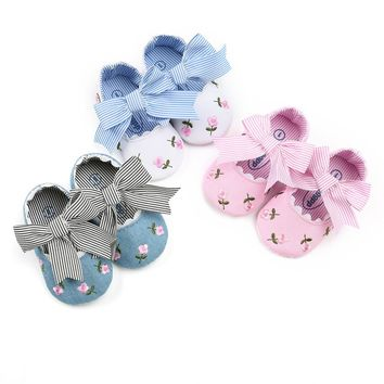 Baby Girl Embroidered Flower Shoes