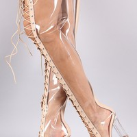 Clear Lace Up Chunky Heeled Over-The-Knee Boots