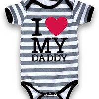 White & Gray Stripe 'I Love My Daddy' Bodysuit - Infants