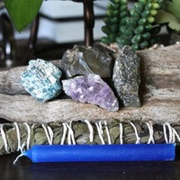 "Dream Spell Set including Amethyst Cluster, Blue Apatite, Labradorite, Ohio Flint Homegrown Organic Sage Bundle, 4"" Blue Candle Pagan Ritual"