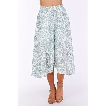 Out Dancing Floral Layered Midi Skirt (Ivory)