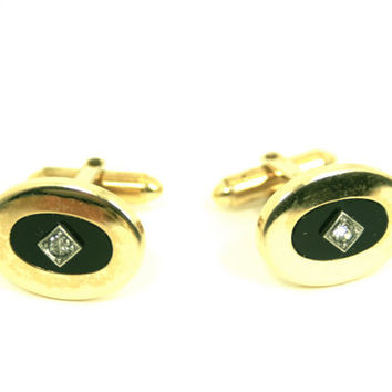 Men's Oval Cufflinks Faux Black Onyx and Gold Plated Vintage Rhinestone Mid Century Mod